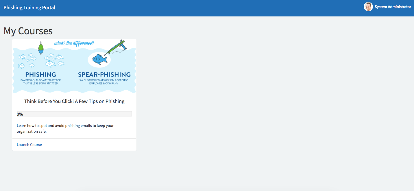 phishbait training portal courses phishing servicenow