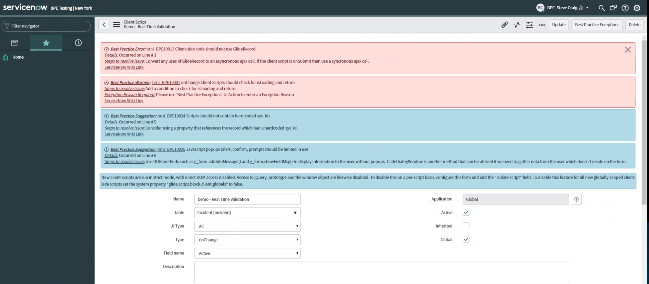 best practice engine real time validation errors suggestions servicenow