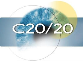 The Sheardown Lab is a part of the C20/20 network. The image is the c20/20 logo comprising of a blue abstract eye with blue and yellow shapes around it and C20/20 written in front.