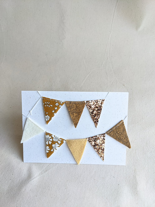 Mini Liberty Bunting - Capel G Mustard, Felt & Glitter (15 Flags)