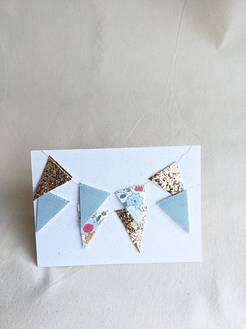 Mini Liberty Bunting - Betsy Blue, Linen & Glitter (15 Flags)