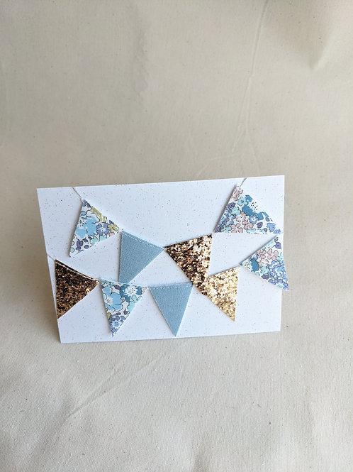 Mini Liberty Bunting - Michelle Blue, Felt & Glitter (15 Flags)