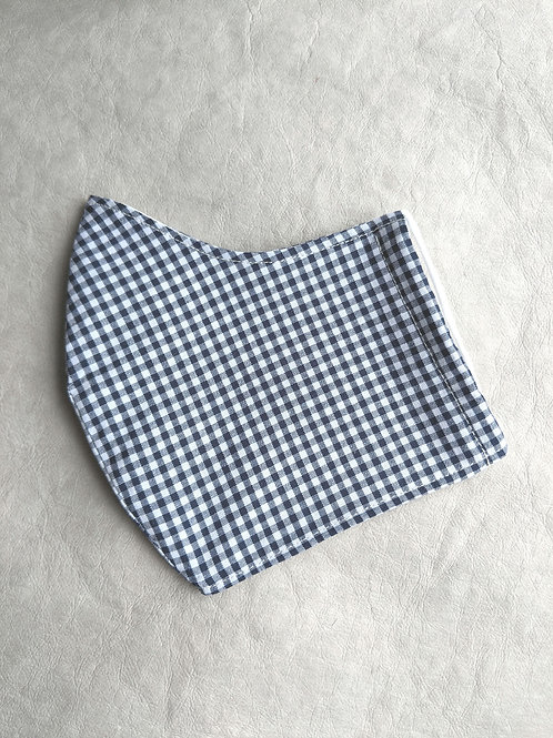 Navy Gingham Fitted Face Covering
