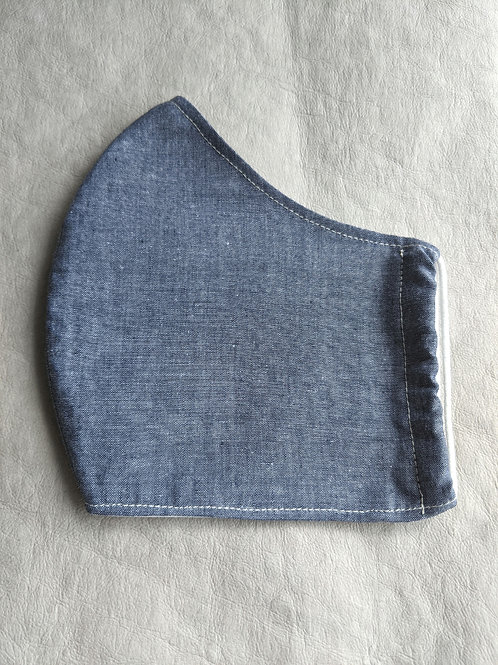 Navy Chambray Fitted Face Covering