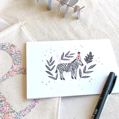 'Party Zebra' card