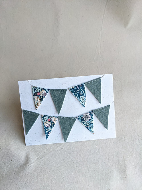 Mini Liberty Bunting - Strawberry Thief Green & Felt (15 Flags)