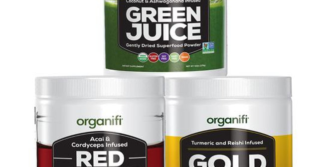 Organifi sunrise to sunset. Organifi green, organifi red and organifi gold tubs staked