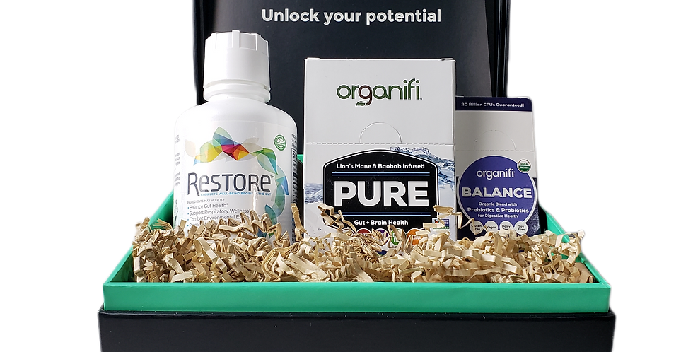 Modern Wellness gut health box set, Organifi pure go packs, Restore 16 oz and Organifi ballance in box