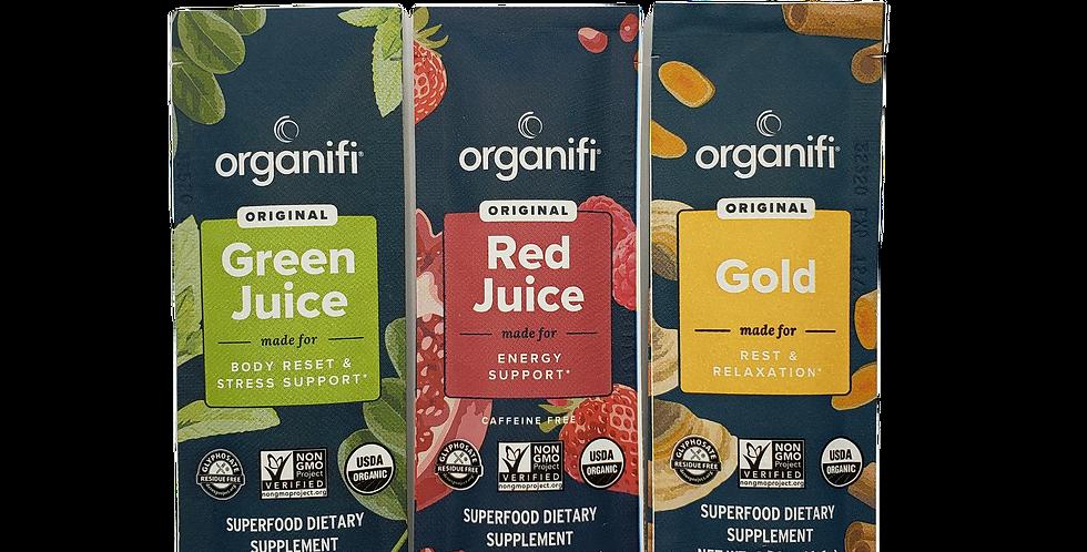 modern wellness organifi sample kit, organifi green juice go pack, organifi red juice go pack, organifi gold tea go pack