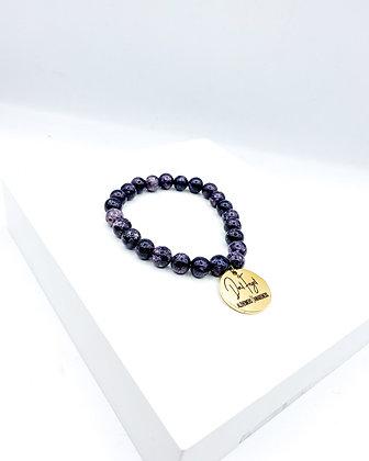 Dark Purple Agate Beaded Bracelet
