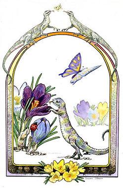 lizard, crocus