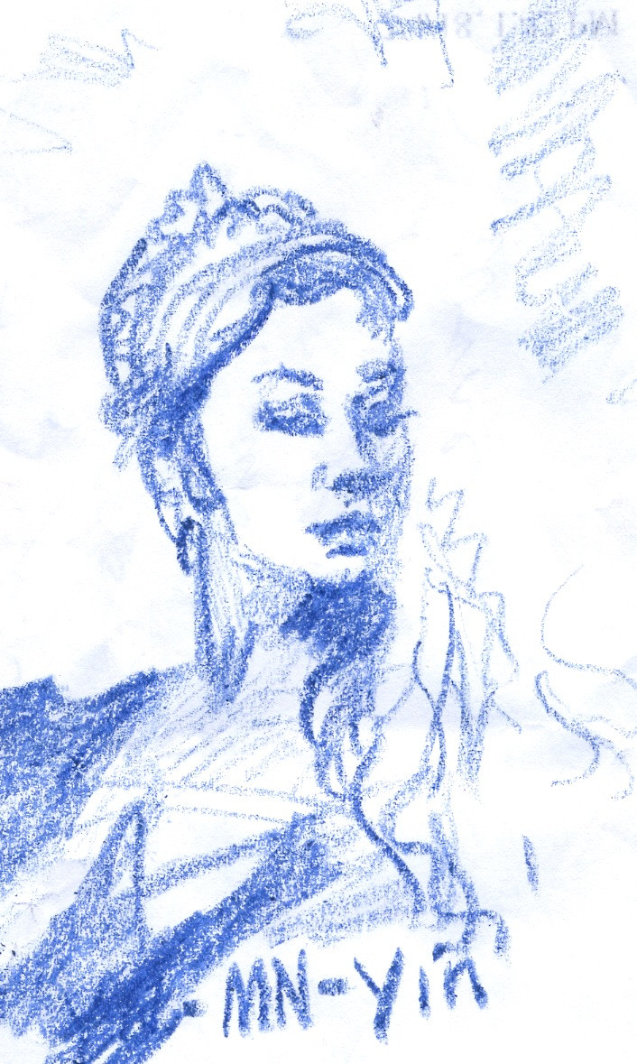 sketch with new blue crayon