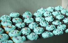 Mini Teal Cupcakes