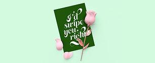 Wenskaart en roze roos