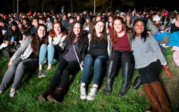 Group of friends, all students at a Philadelphia university come to see Hillary Clinton and Katy Perry on 05. 0ct 2016 CREDIT: RUTH SHERLOCK/THE TELEGRAPH