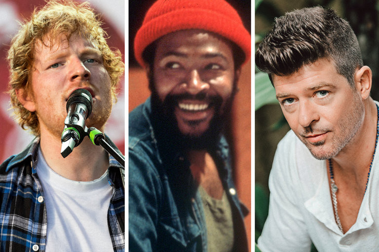 Ed Sheeran, left, and Robin Thicke, right, have both been accused of copying aspects of musical work by Marvin Gaye, center  Chad Batka for The New York Times; Jim Britt/Michael Ochs Archive, via Getty Images; Elizabeth Weinberg for The New York Times