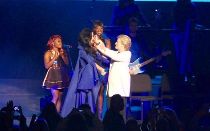 """Katy Perry hugs Hillary Clinton at a """"Get Out The Vote' rally in Philadelphia, Pennsylvania  CREDIT: RUTH SHERLOCK/THE TELEGRAPH"""