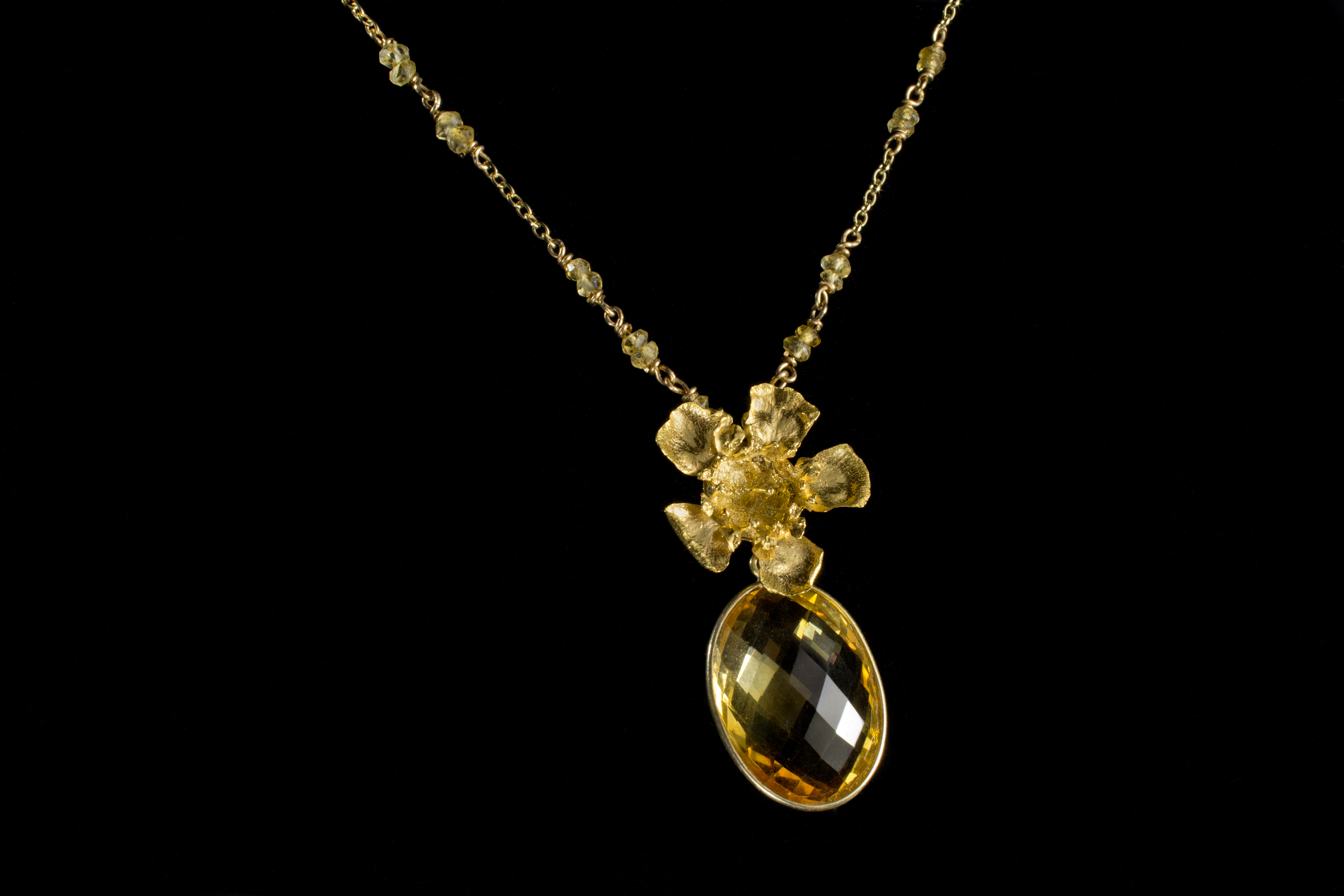 Gold Geraldton Wax and Citrine Drop