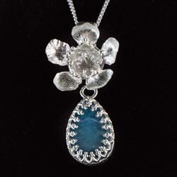 Geraldton wax flower & Opal Pendant