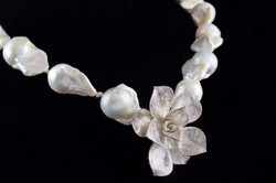 •Succulent with Pearls necklace