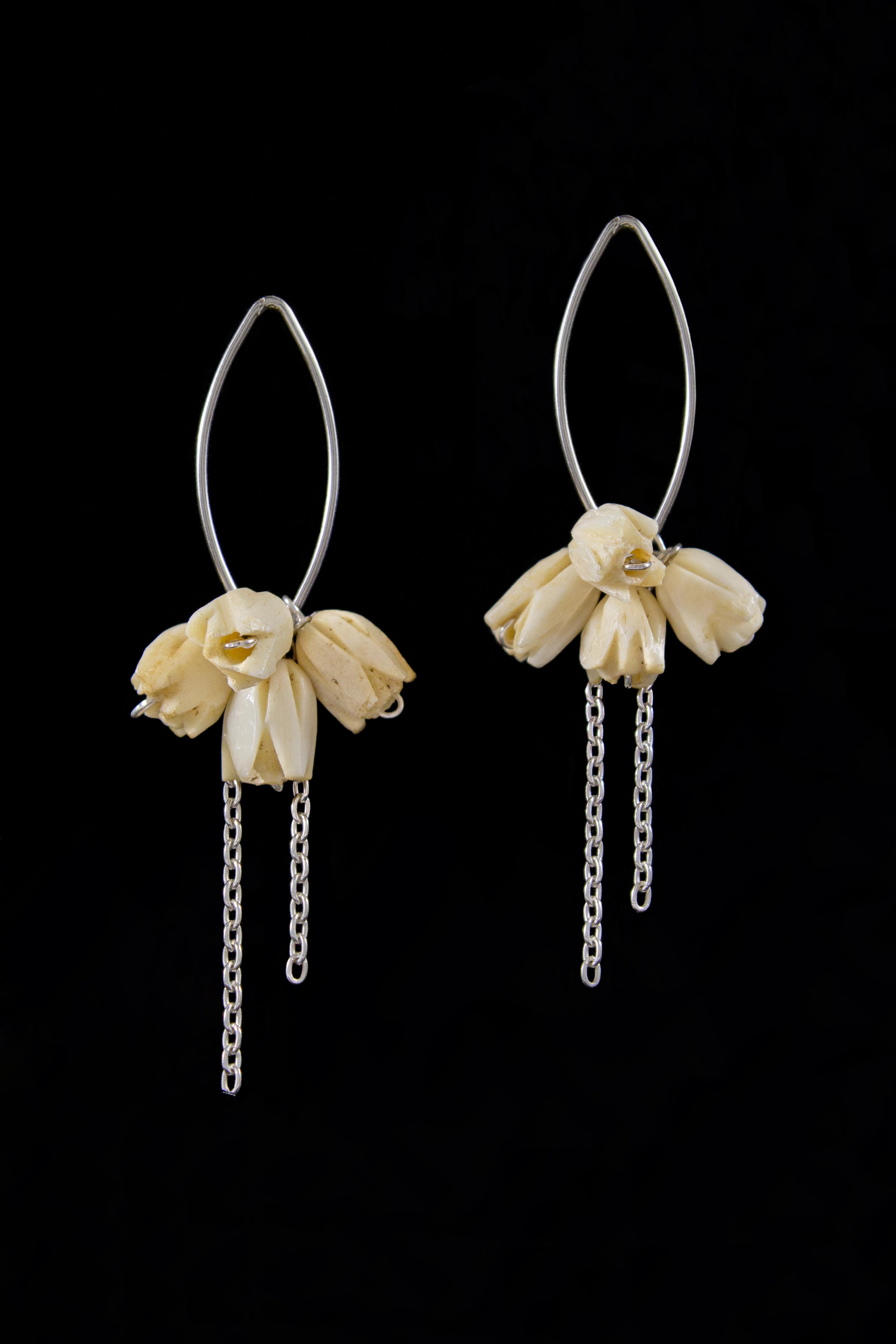 Bone flower earrings