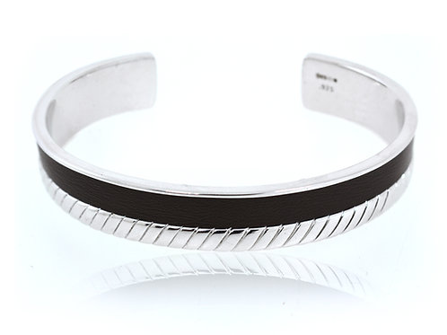 hoxton sterling silver and black leather bracelet
