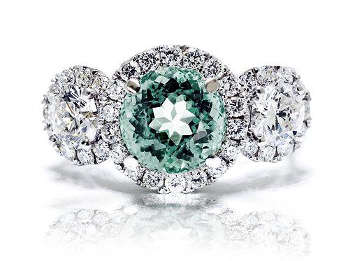 white gold round aquamarine ring with diamonds