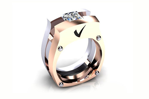 18ct White and rose gold floating princess diamond gents ring