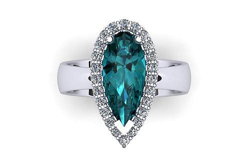 18ct White gold pear shape tourmaline diamond ring