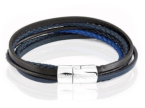 tatteossian black and blue leather bracelet