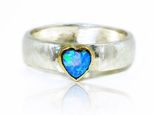 Israel design yellow gold and sterling silver heart opal dress ring