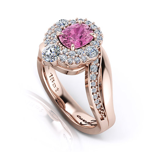 18ct Rose gold cushion cut pink spinel with a halo of pave diamonds