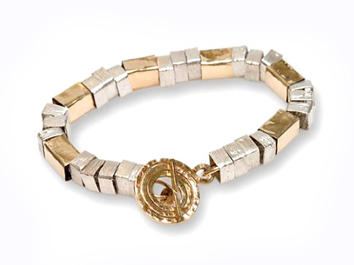 Israel designer bracelet in 14ct yellow gold and sterling silver