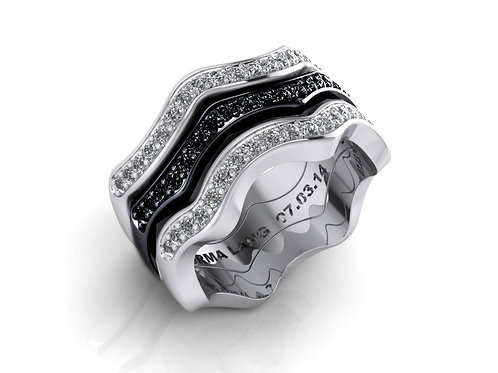 black and white diamond wave bands