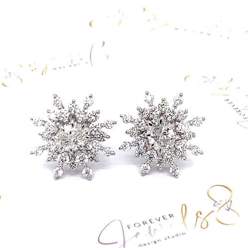 SNOWFLAKE  STUDS  DIAMOND EARRINGS
