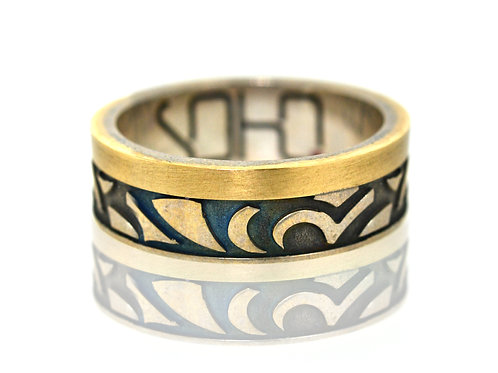 Gents yellow gold and Sterling silver designer ring