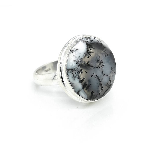 DENTRITE & STIRLING SILVER RING ROUND CUT