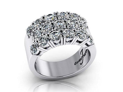 18ct White gold three row round brilliant diamonds grain set wedding band