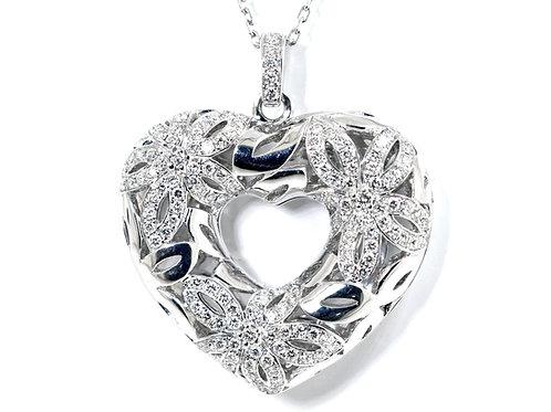 filigree diamond heart pendant