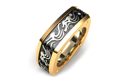 18ct Yellow and white gold wave design gents ring with black rhodium