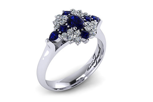18ct White gold deep blue sapphire and diamond ring