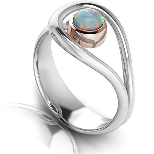 Sterling Silver Opal Dress Ring in White & Rose Gold