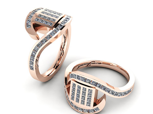 rose gold princess cut dress ring