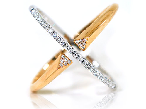 18ct Rose and white gold cross over diamond dress ring