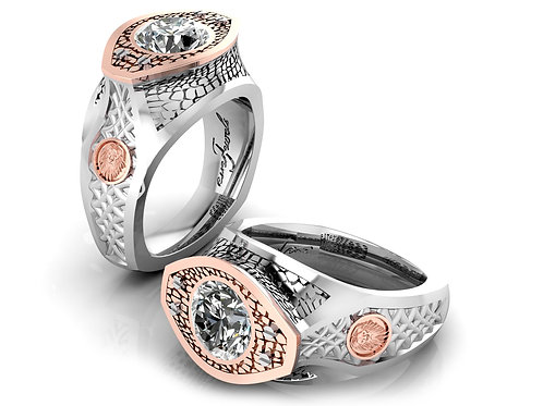 18ct White & rose gold leo zodiac cognac diamond crocodile dress ring