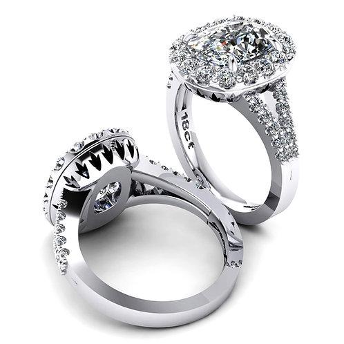 Oval Diamond Halo Engagement Ring with Split Diamond Shank