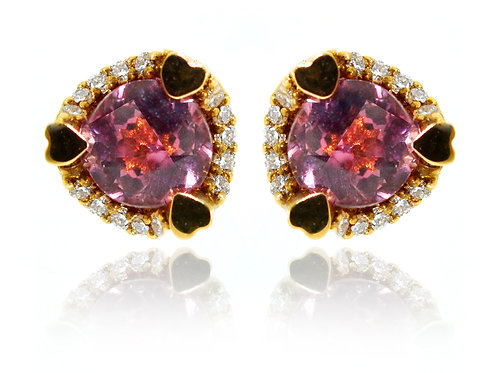 18ct Rose Gold/ WG Studs Malaya Garnet Earrings