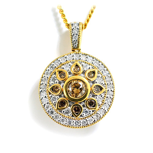 yellow gold cogniac diamond pendant