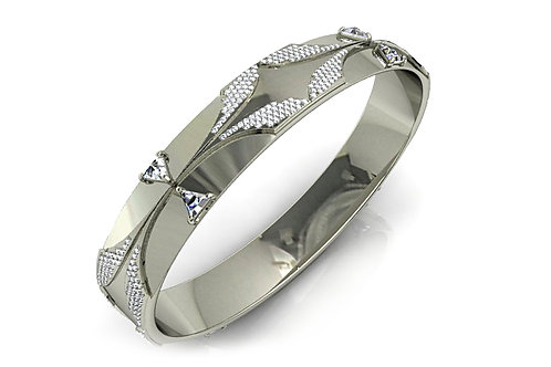 18ct White gold diamond pave bangle