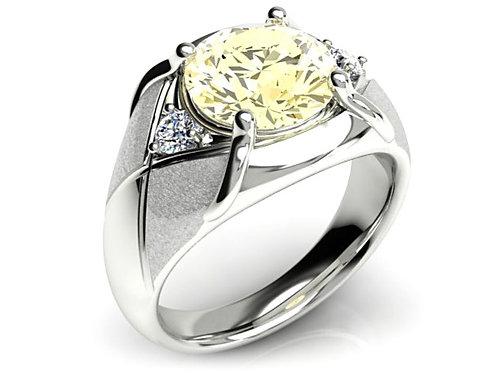 18ct White gold round brilliant yellow diamond dress ring